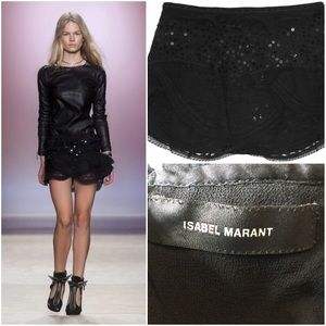Isabel Marant Black Qing Ruffle-Trimmed Sequined